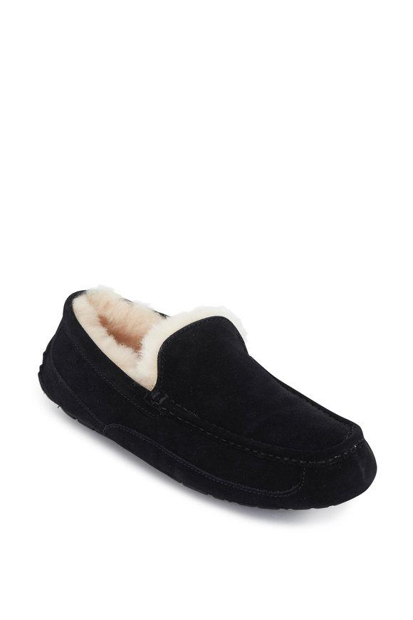 Ugg Ascot Uggpure Black Suede Shearling Slipper