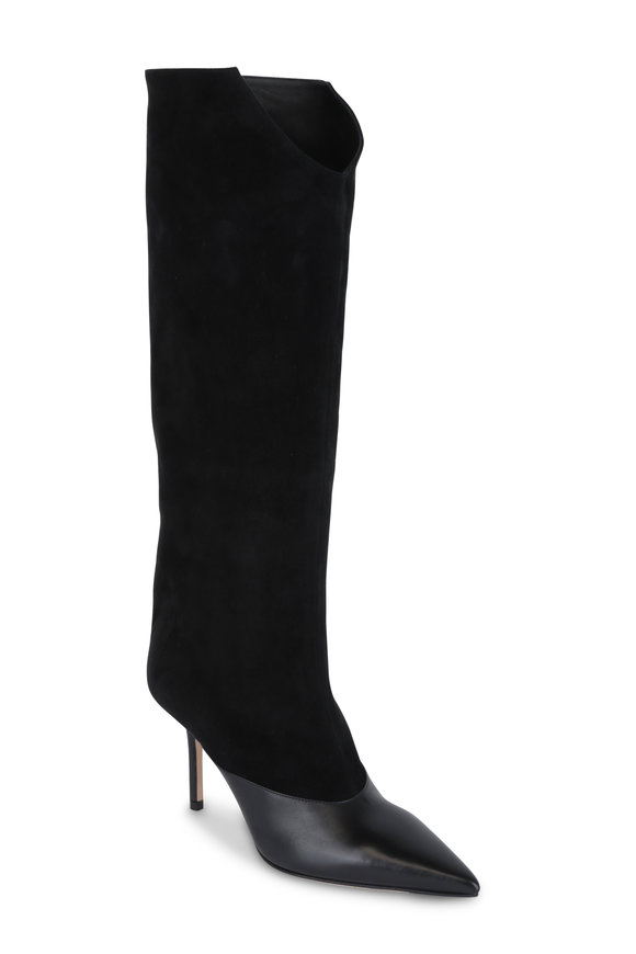 Jimmy Choo Brelan Black Leather & Suede Boot, 85mm