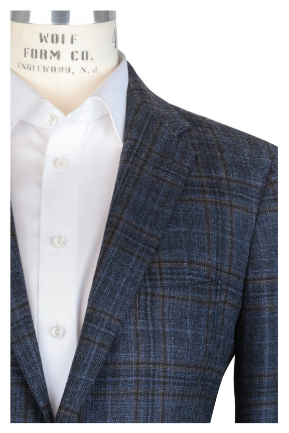 Mauro Blasi Blue Plaid Wool Sportcoat