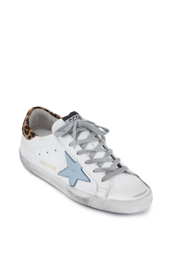Golden Goose Superstar White & Leopard Blue Star Sneaker