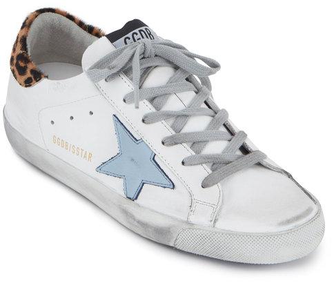 Golden Goose Superstar White & Leopard Blue Star Sneaker