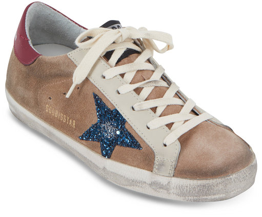 Golden Goose Superstar Desert Suede Blue Glitter Star Sneaker