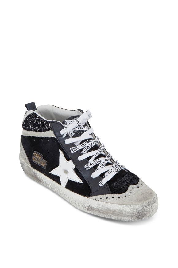 Golden Goose Mid-Star Black Velvet & Silver Glitter Sneaker