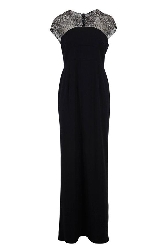 Escada Glihana Black Beaded Illusion Cap Sleeve Gown