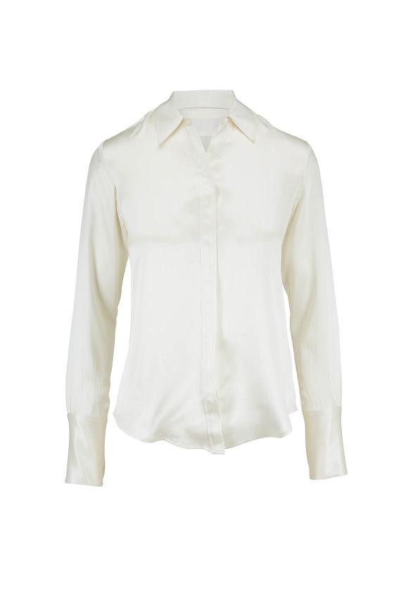 Nili Lotan Lleida Ivory Silk Button Down Shirt