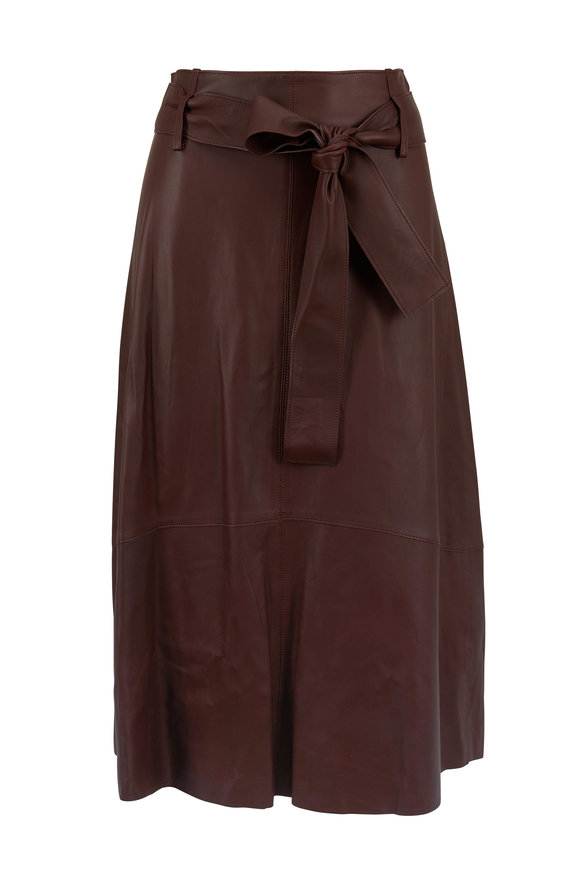 Vince Dark Mahogany Leather Belted Skirt
