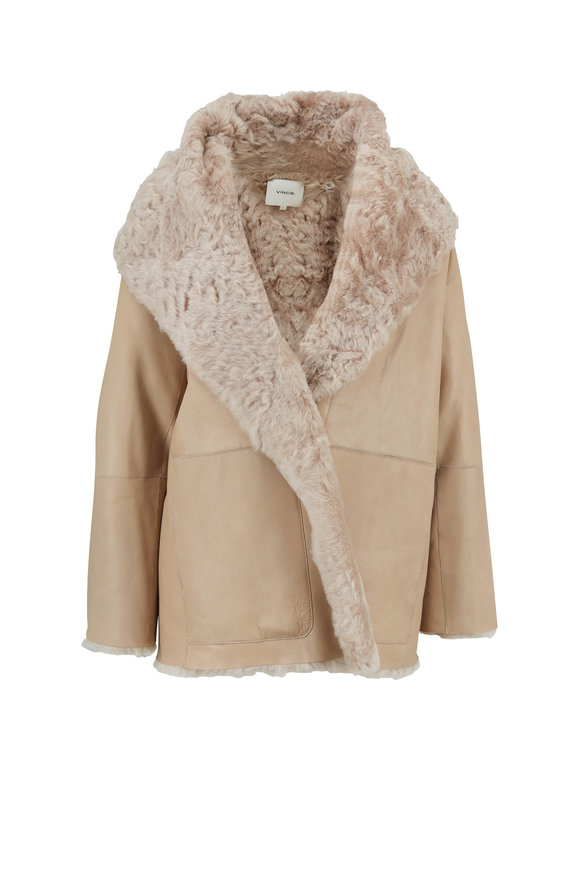 Vince Cream Shearling Cardi Coat