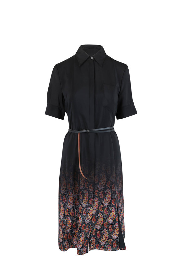 Altuzarra Kieran Black Paisley Silk Shirtdress
