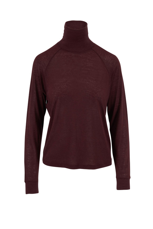 Vince Dahlia Wine Raglan Sleeve Turtleneck