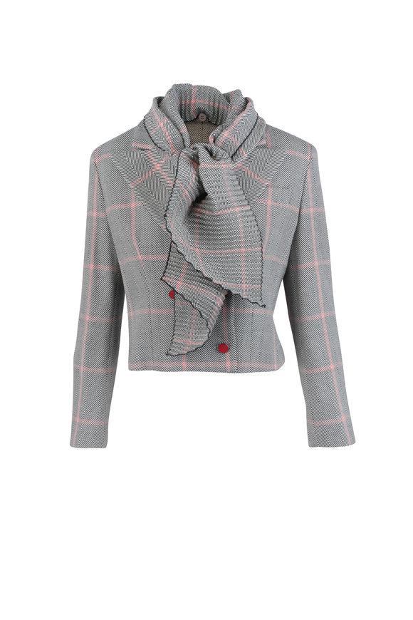 Giorgio Armani Chevron Print Wool Plisse Scarf Jacket