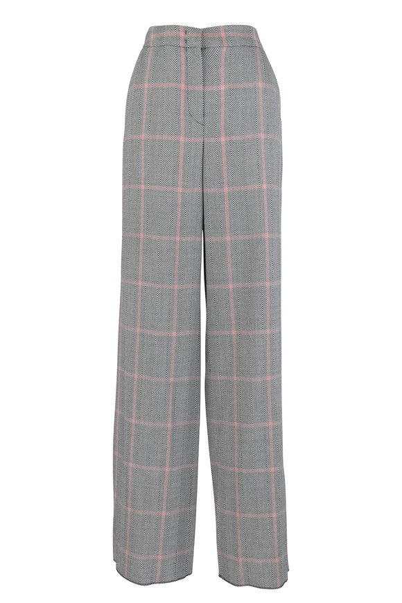 Giorgio Armani Black Chevron Check Wide Leg Wool Pant