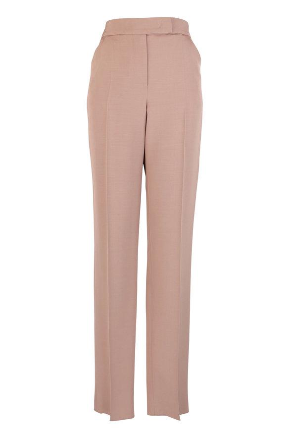 Giorgio Armani Camel Silk & Wool Slim Pant