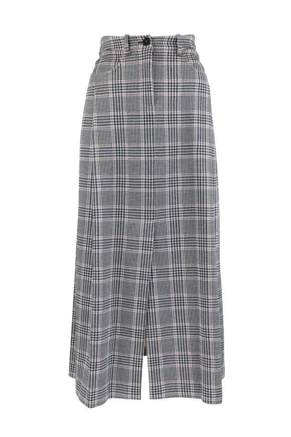 Giorgio Armani Pink & Black Wool Blend Windowpane Long Skirt