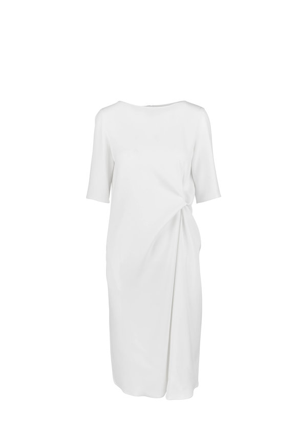 Giorgio Armani Cady White Silk Drape Dress