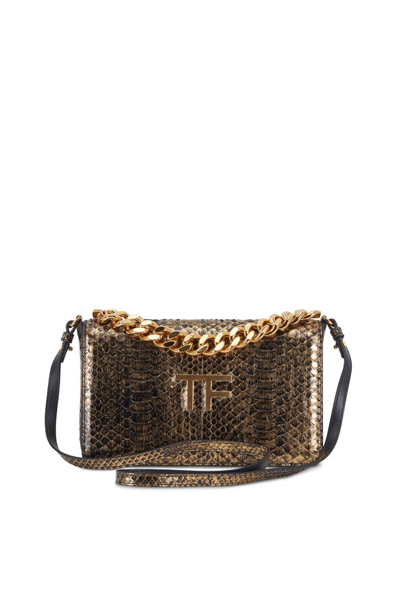 Tom Ford Gold Laminated Two-Tone Python Chain Clutch
