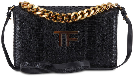 Tom Ford Black Glossy Python Chain Clutch
