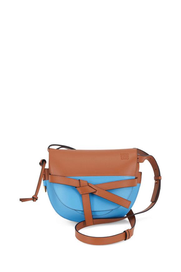 Loewe Gate Tan & Blue Leather Small Crossbody Bag