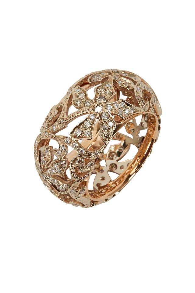Arabesque Pink Gold Diamond Ring