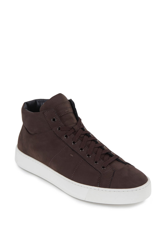 Santoni Pasado Dark Brown Suede Mid-Top Sneaker