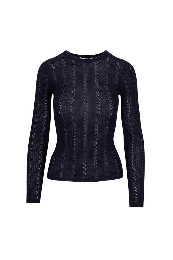Gabriela Hearst Navy Blue Pointelle Cashmere & Silk Sweater