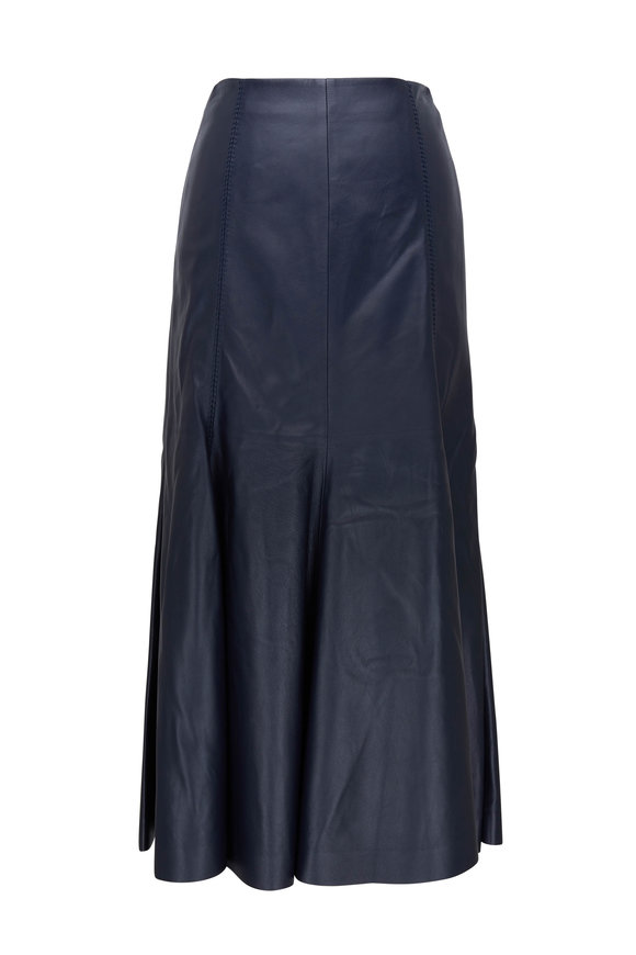 Gabriela Hearst Navy Blue Leather Midi Skirt