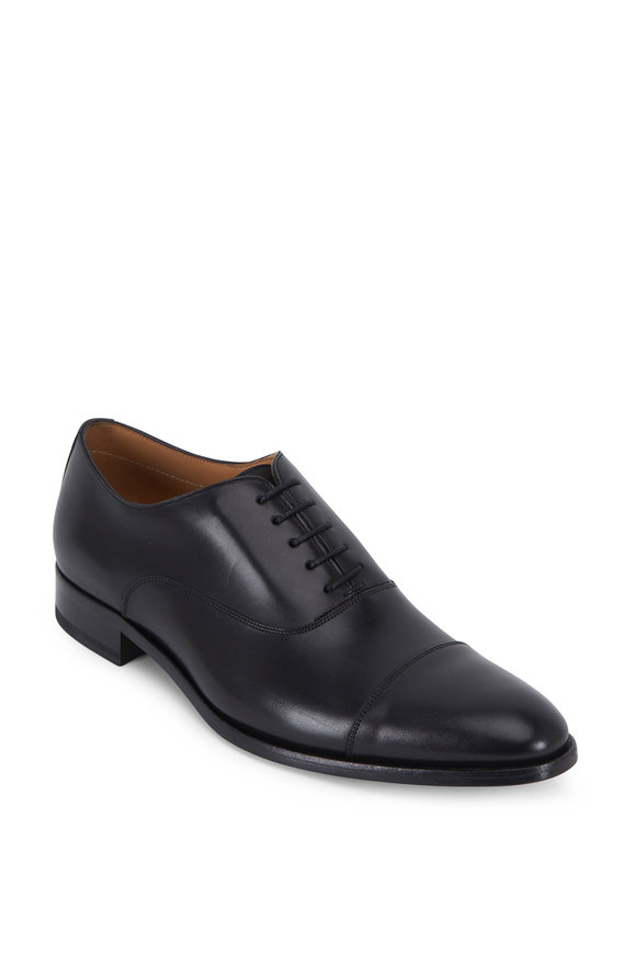 To Boot New York Forley Black Leather Cap-Toe Oxford