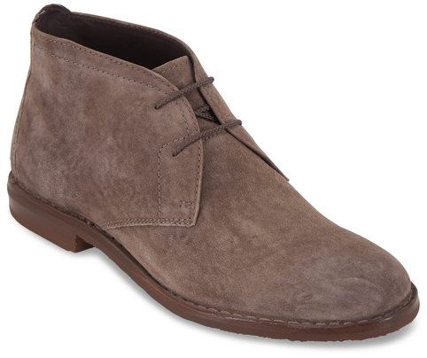 Trask Brady Gray Italian Suede Lace-Up Boot