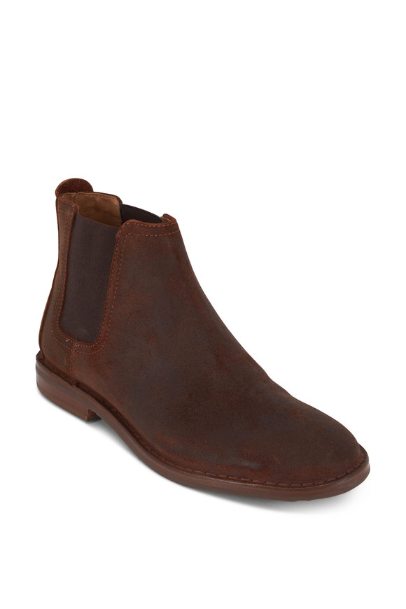 Trask Britton Brown English Waxed Suede Chelsea Boot