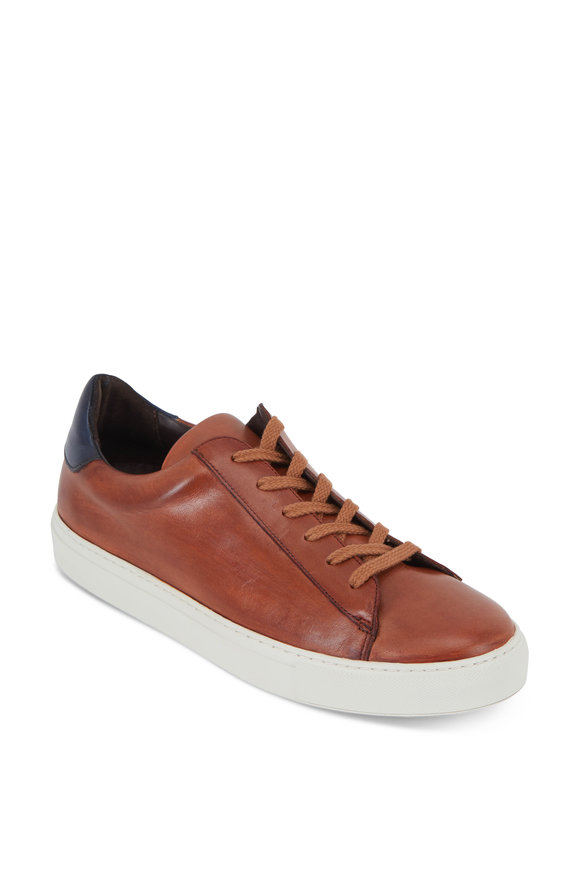 G Brown Court Tan & Navy Blue Leather Sneaker