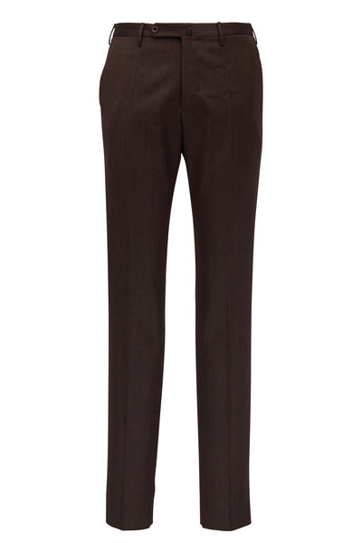 Incotex - Matty Dark Brown Stretch Wool Modern Fit Pant