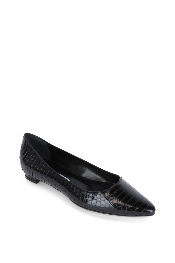Manolo Blahnik Titto Black Snakeskin Pointed Flat