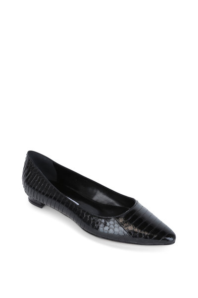 Manolo Blahnik - Titto Black Snakeskin Pointed Flat