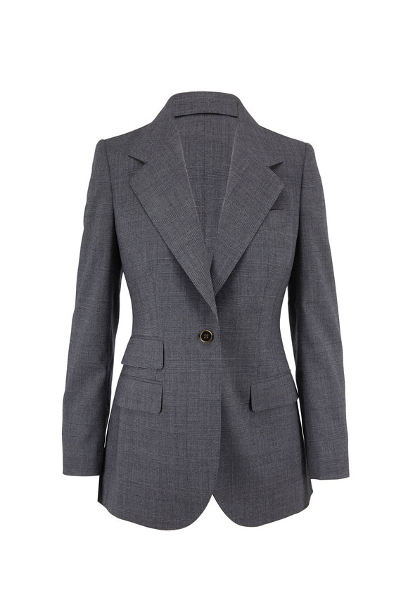 Dolce & Gabbana Gray Tartan Stretch Wool Jacket