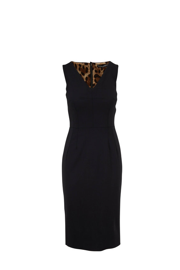 Dolce & Gabbana Black V-Neck Sleeveless Sheath Dress