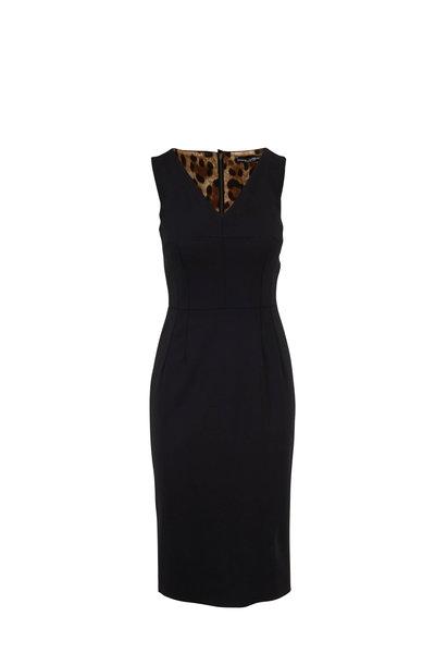 Dolce & Gabbana - Black V-Neck Sleeveless Sheath Dress