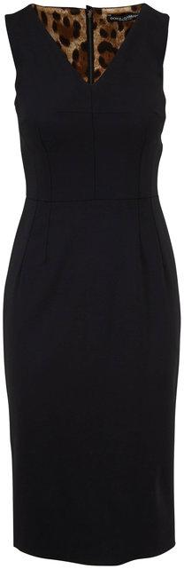 Dolce & Gabbana Black V-Neck Sleeveless Sheath Dress