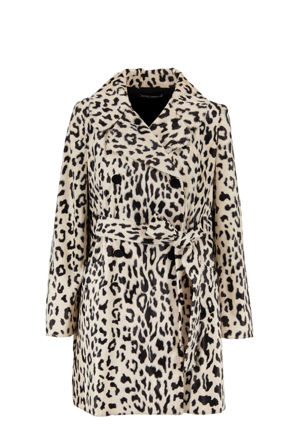 Dolce & Gabbana Ivory & Black Leopard Belted Coat