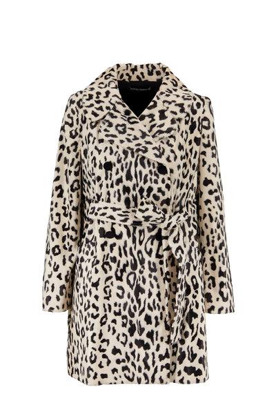Dolce & Gabbana - Ivory & Black Leopard Belted Coat