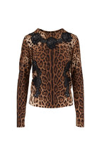 Dolce & Gabbana - Leopard Print Lace Trim Knit Sweater