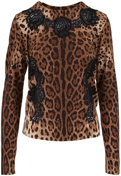 Dolce & Gabbana Leopard Print Lace Trim Knit Sweater