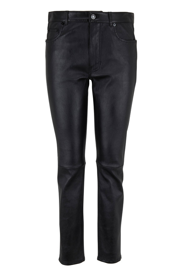 Saint Laurent Black Leather Five Pocket Skinny Pant