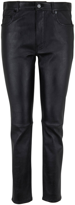 Saint Laurent Black Leather Five Pocket Skinny Pant