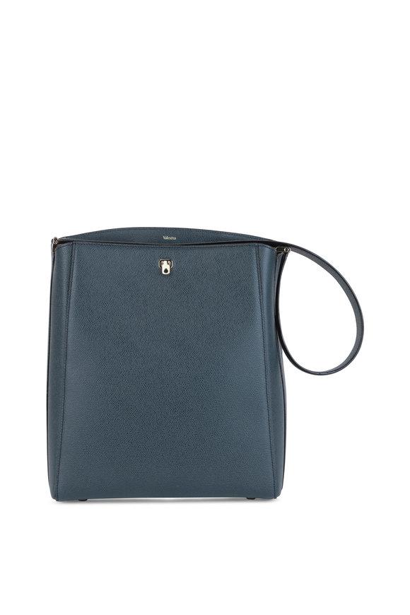 Valextra Brera Petrol Grained Leather Shoulder Bag
