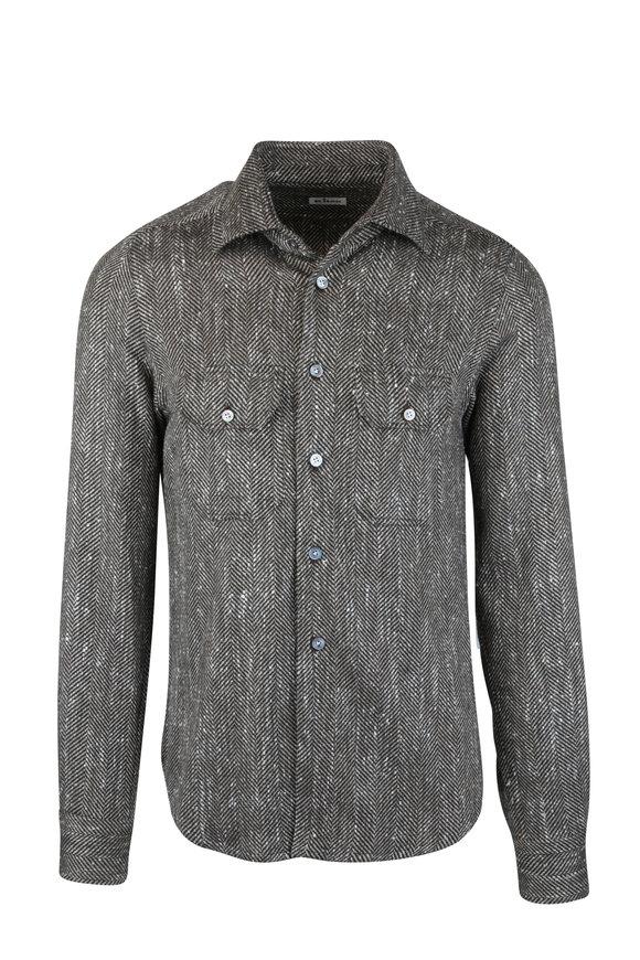 Kiton Brown Herringbone Cashmere & Silk Overshirt