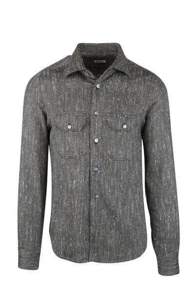 Kiton - Brown Herringbone Cashmere & Silk Overshirt