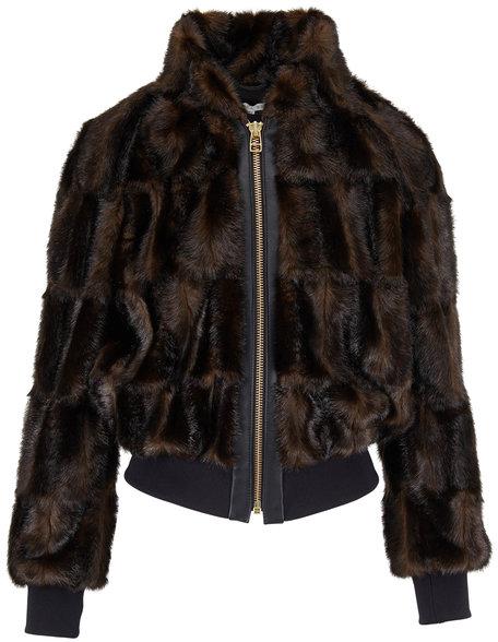 Veronica Beard Bellfire Dark Brown Faux Fur Bomber