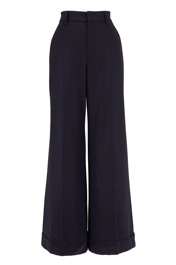 Brunello Cucinelli Exclusively Ours! Navy Flannel Wide Leg Pant