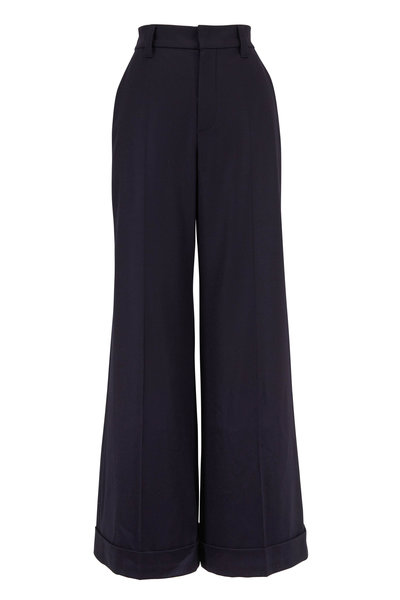 Brunello Cucinelli - Exclusively Ours! Navy Flannel Wide Leg Pant