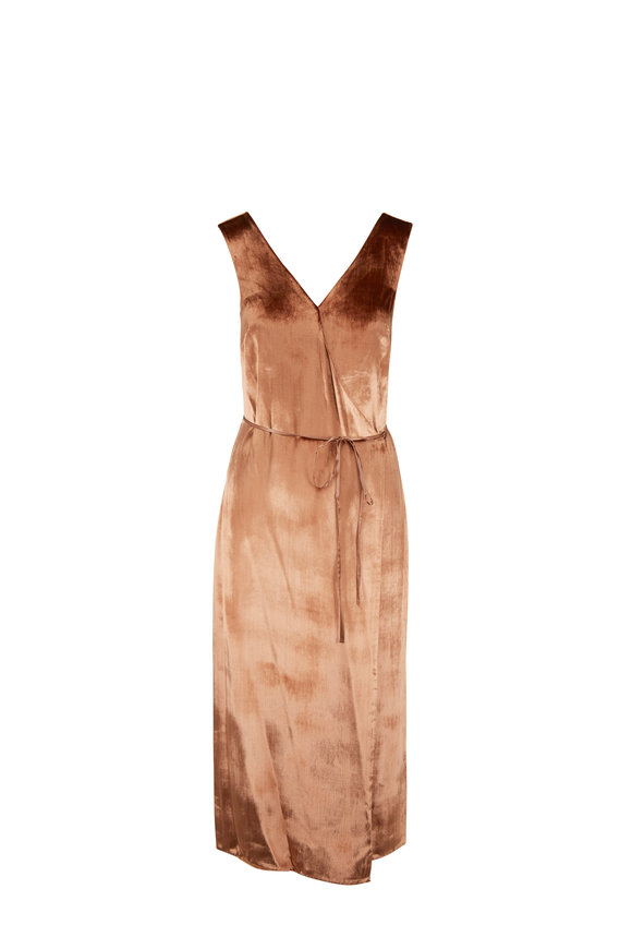 Vince Panne Rose Gold Sleeveless Wrap Dress