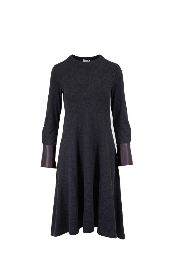 Brunello Cucinelli Anthracite Jersey Wool Long Sleeve Dress